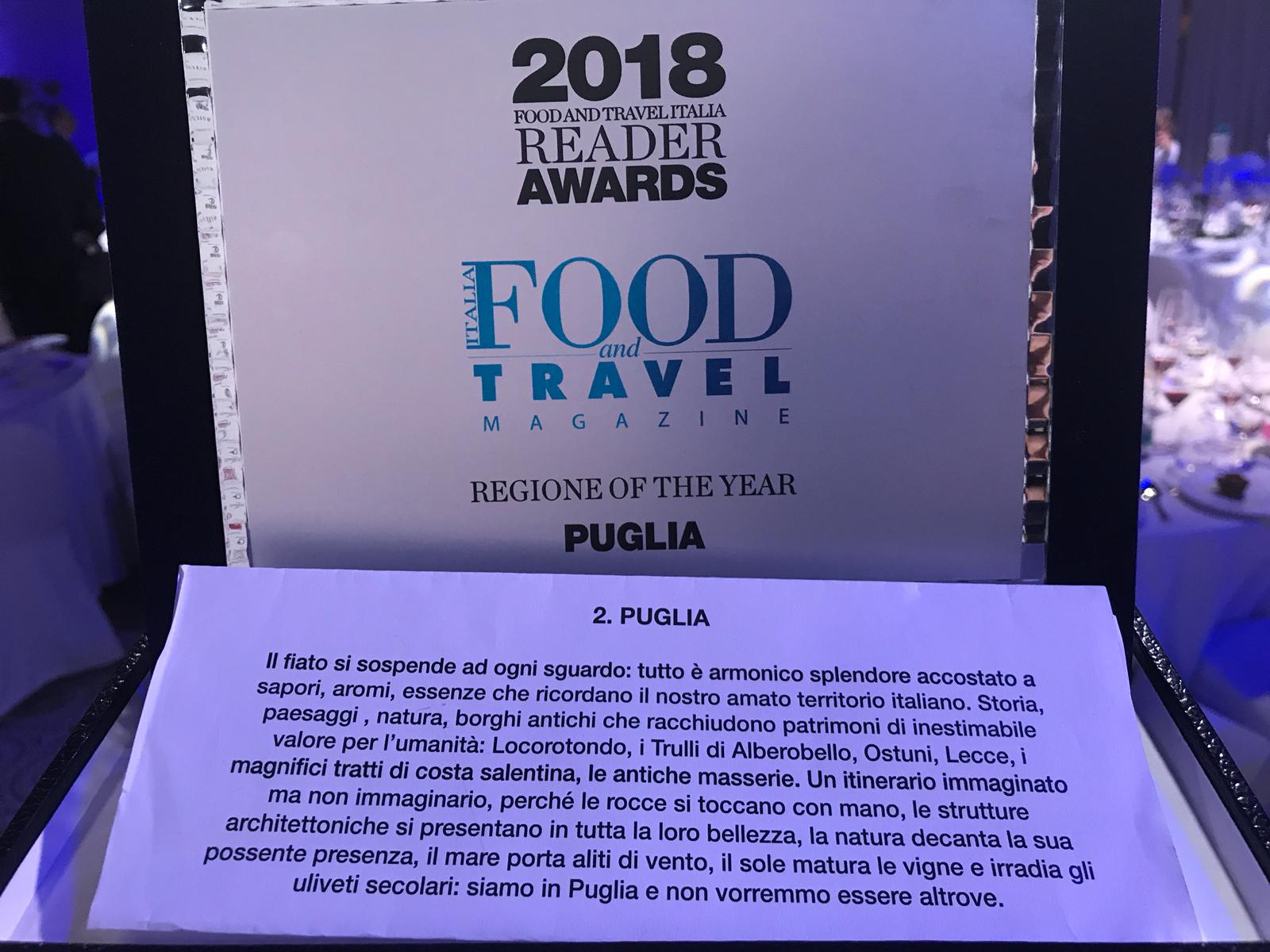 Puglia Regione of the year al Food and Travel Italia Reader Awards 2018