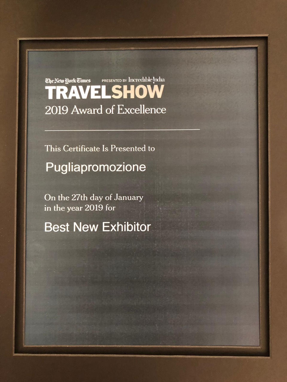 Per la prima volta al New York Times Travel Show La Puglia premiata a New York con il 2019 Award of Excellence
